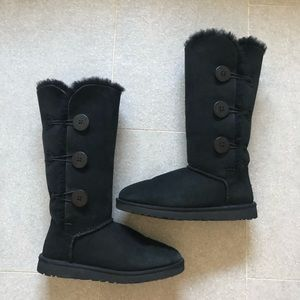 UGG Black Bailey Button Genuine Shearling Boot